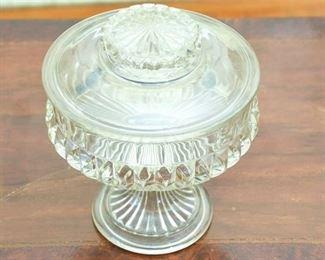62. Vintage Cut Glass Candy Dish wLid
