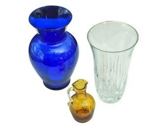 66. Contemporary Glass Lot Cobalt, Honey, Crystal