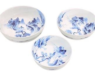 69. Set of 3 Porcelain Stacking Japanese Bowls