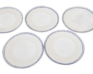 73. Set 5 Japanese Ceramic Fish Plates
