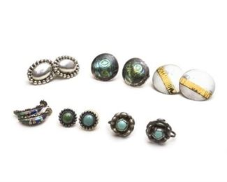 100. Group Lot of Six 6 Pairs of Costume Earrings