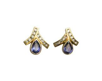 104. Pair of Sapphire and Diamond Earrings