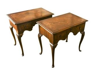 107. Pair Fine Mahogany Queen Anne Style Lowboys