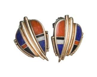 109. Pair Sterling Silver and Enamel Earrings