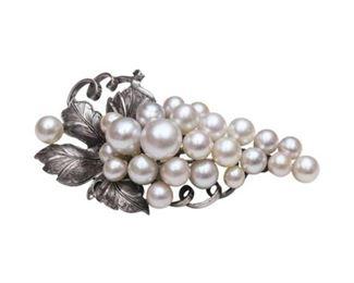 110. Sterling Silver Pearl Brooch