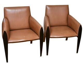 116. Pair of DAKOTA JACKSON Ke Zu Contemporary Leather Armchairs