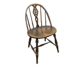 117. Vintage Windsor Back Oak Pub Side Chair