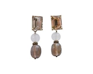 118. Pair of 14 GF Smoky Topaz and Moonstone Earrings