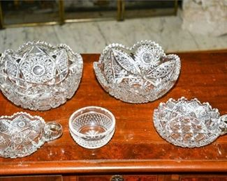 120. Group Lot of Antique Cut Crystal Bowls