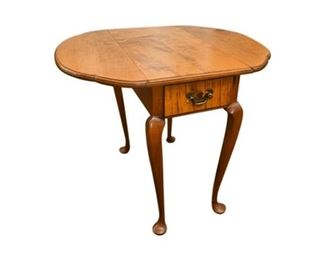 121. Queen Anne Tiger Maple Drop Leaf Side Table