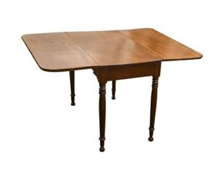 123. Antique Cherry Wood Drop Leaf Dining Table