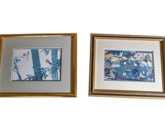 125. Pair Japanese Watercolor Woodblock Prints