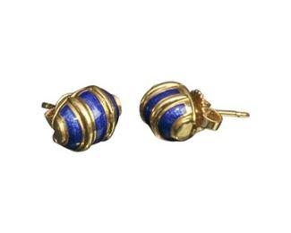 126. Pair Fine 18K Gold TIFFANY Schlumberger Earrings