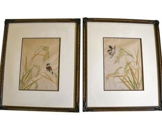 127. OKADA Signed Framed Set Japanese Watercolor Bird Scenes