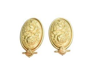128. Pair 18 K Gold Italian Earrings