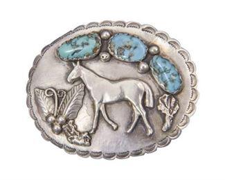 130. Navajo Sterling Silver Turquoise Belt Buckle