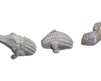 133. Three 3Piece Alligator Ceramic Lawn Decoration