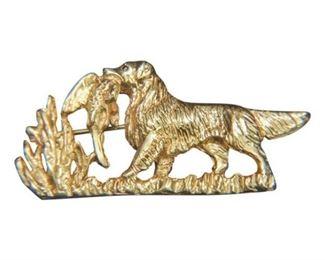 134. 14K Gold Dog Themed Brooch