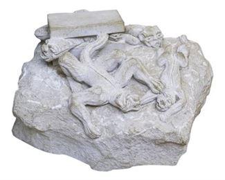 135. Vintage GothicGrotesque Carved Limestone Sculpture