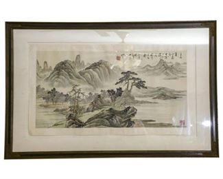136. Framed Vintage Japanese MOUNTAIN SCENE Watercolor