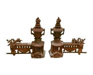 137. Pair Antique Cast Iron Andirons