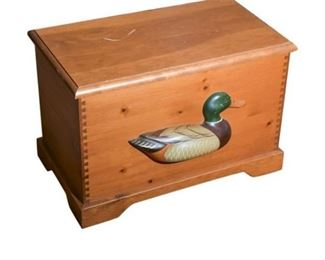 140. Contemporary Pine Chest with Carved Duck Decoration