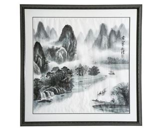133. Vintage Japanese Watercolor of Mountain Scene Signed