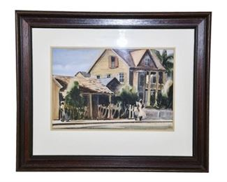 138. Vintage Florida, KEY WEST, Watercolor Painting by AVERY JOHNSON