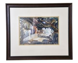139. WPA Artist Henry La Cagnina Watercolor Florida Scene
