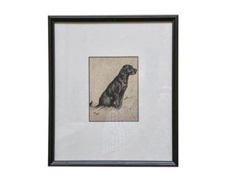 141. Vintage Framed Dog EtchingPrint by Cecil Alton