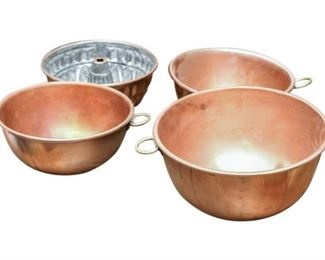 142. Set Four 4 Solid Copper Kitchen Bowls and Cake Mold
