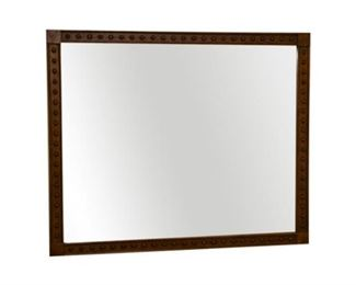 151. Large Antique Aesthetic Style Oak Wall Mirror c.1870s