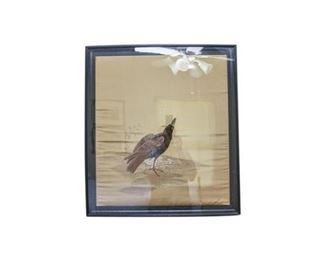 154. Vintage Asian Silk Embroidery Artwork Bird in Snow