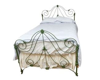 155. Antique Victorian Wrought Iron Bed Size Double