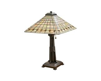 156. Arts Crafts Stained Glass Table Lamp
