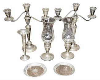 161. Vintage 7 Seven Piece Sterling Silver Lot With Candelabra  Coasters