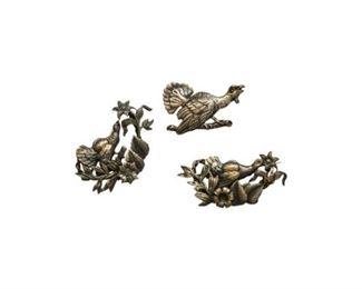 169. Set of Three Silver Finish JAPANESE BroochesPins