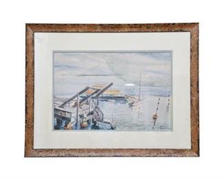 172. 1934 Alfred D. Crimi KEY WEST Dock Scene Painting