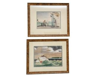 173. Avery Johnson Richard Sargent Two 1930s KEY WEST Watercolors