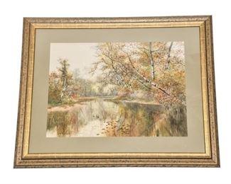 175. Vintage American WPA Era Nature Scene watercolor