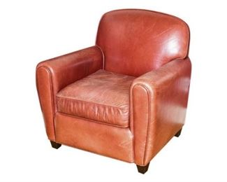 188. Contemporary Red Leather Art Deco Club Chair