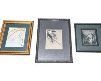 189. Set of Three Vintage Japanese Artworks, Signed