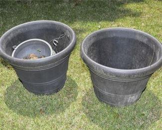 203. Pair Round Outdoor Planters