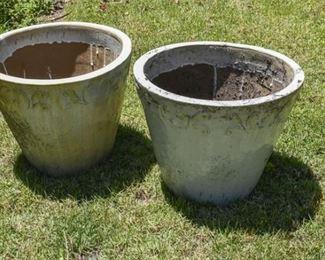 204. Pair Glazed Ceramic Outdoor Planters