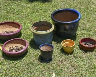 207. 7 Piece Glazed Ceramic Outdoor Planters