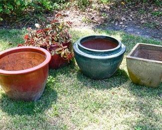 210. Lot of 4 Four Glazed Ceramic Planters