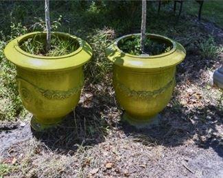 213. Pair Large Glazed Ceramic Outdoor Planters