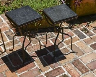 220. Pair Wrought Iron Stands with Marble Tops