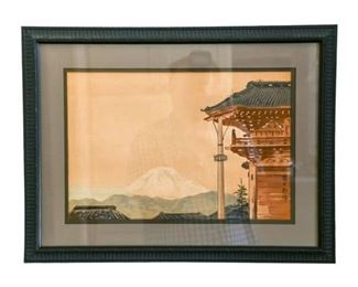 224. VJapanese Watercolor Architectural Study