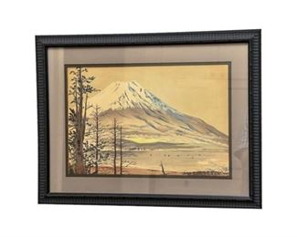 225. Japanese Watercolor Depicting a SnowCovered Volcano